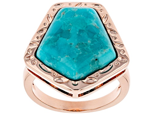 Photo of Timna Jewelry Collection™ 16x15.5mm Pentagon Shape Cabochon Turquoise Solitaire, Copper Ring - Size 8