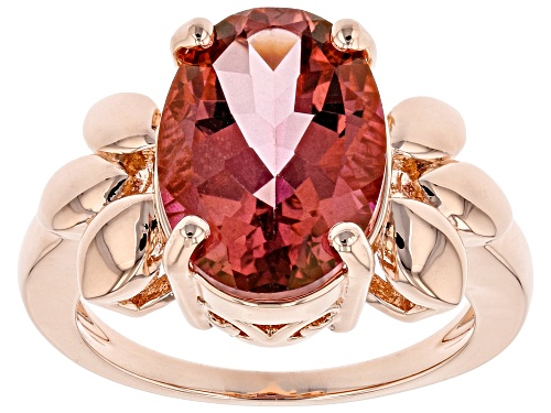 Photo of Timna Jewelry Collection™ 5.47ct Oval Coral Color Topaz Solitaire, Copper Leaf Design Ring - Size 7