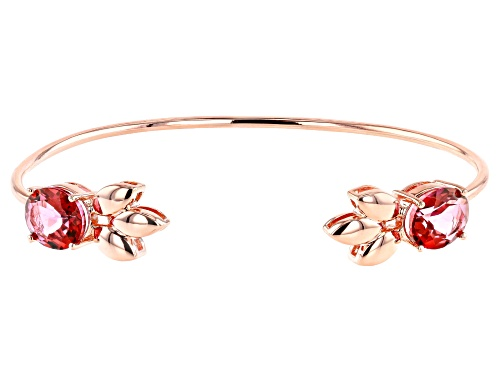 Photo of Timna Jewelry Collection™ 7.53ctw Oval Coral Color Topaz, Leaf Design Copper Cuff Bracelet - Size 8