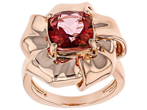 Photo of Timna Jewelry Collection™ 3.07ct Square Cushion Coral Color Topaz Solitaire Copper Flower Ring - Size 6
