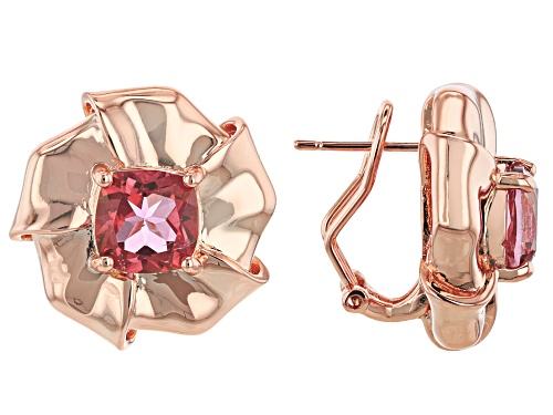 Photo of Timna Jewelry Collection™ 4.76ctw Cushion Coral Color Topaz Solitaire, Copper Flower Earrings