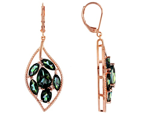 Photo of Timna Jewelry Collection™ 8.23ctw Mixed Shape Princess™ Quartz, Copper Leaf Design Dangle Earrings