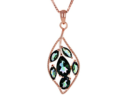 Photo of Timna Jewelry Collection™ 5.36ctw Princess™ Quartz Copper Leaf Design Pendant With Chain
