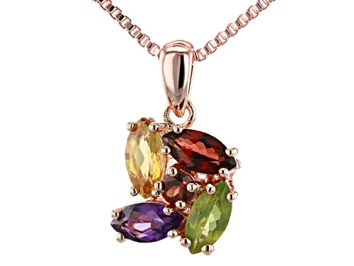 Photo of Timna Jewelry Collection™ 2.24ctw Garnet, Citrine, Amethyst, and Peridot Copper Pendant With Chain