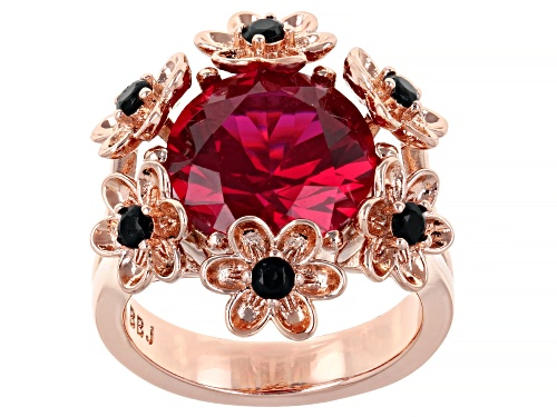 Photo of Timna Jewelry Collection™ Red Lab Created Ruby With Black Spinel Copper Flower Ring - Size 7