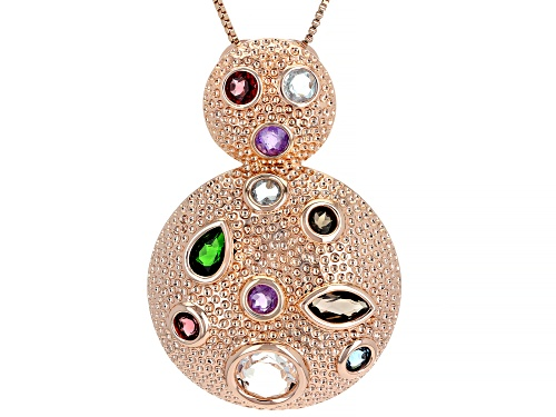 Photo of Timna Jewelry Collection™ Mix Shape Multi- Gemstone Textured Copper Door Knocker Pendant w/  Chain