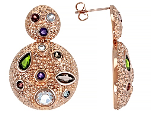Photo of Timna Jewelry Collection™  4.61ctw Mix Shape Multi- Gemstone Textured Copper Door Knocker Earrings