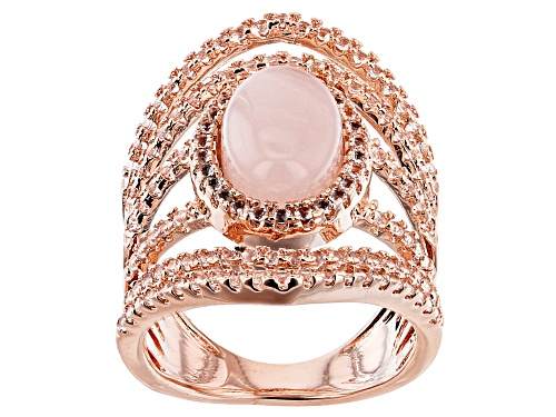 Photo of Timna Jewelry Collection™ 12x8mm Rose Quartz, 1.15ctw White Topaz Open Design Copper Ring - Size 8