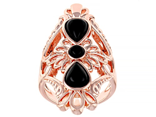 Photo of Timna Jewelry Collection™ 2.15ct Black Onyx filigree style Copper ring - Size 7