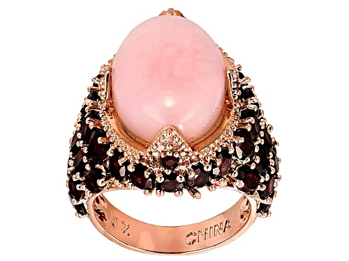 Photo of Timna Jewelry Collection™Oval Peruvian Pink Opal With 7.19ctw Rhodolite & White Topaz Copper Ring - Size 4