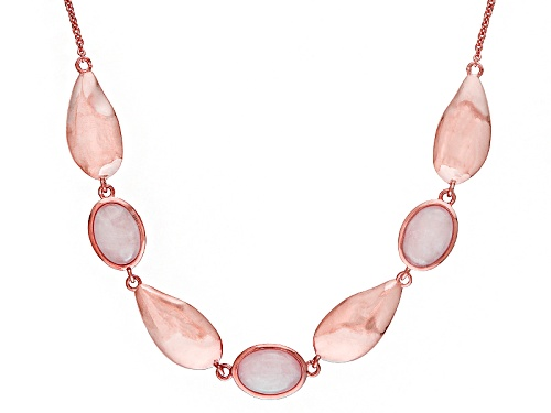 Photo of Timna Jewelry Collection™ 14x10mm Oval Cabochon Rose Quartz Copper Necklace - Size 18