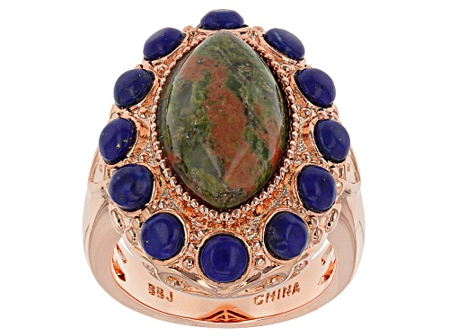 Photo of Timna Jewelry Collection™ 17x10mm Marquise Unakite With Round Lapis Lazuli Copper Ring - Size 4