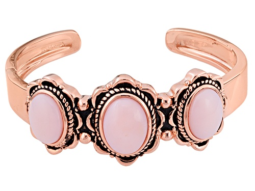 Photo of Timna Jewelry Collection™ Oval Cabochon Peruvian Pink Opal Copper Hinged Cuff Bracelet - Size 8