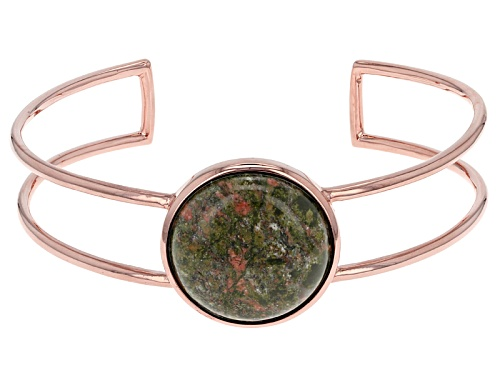 Photo of 25mm Round Cabochon Multicolor Unakite Copper Cuff Bracelet - Size 8