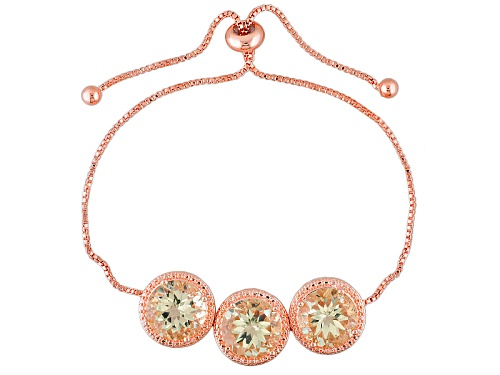 Photo of Timna Jewelry Collection™ 14.22ct Round Yellow Labradorite 3-Stone Copper Bolo Bracelet