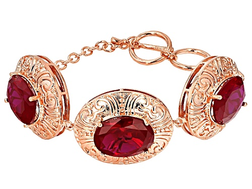 Photo of Timna Jewelry Collection™ 36.29ctw Oval Lab Created Ruby Copper Bracelet - Size 8