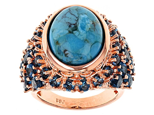 Photo of Timna Jewelry Collection™ 16x12mm Blue Turquoise With 5.01ctw London Blue Topaz Copper Ring - Size 4