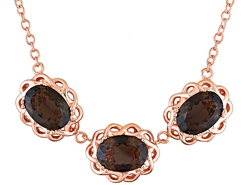 Photo of Timna Jewelry Collection™ 16.80ctw Oval Smoky Quartz Copper 3-Stone Necklace - Size 18