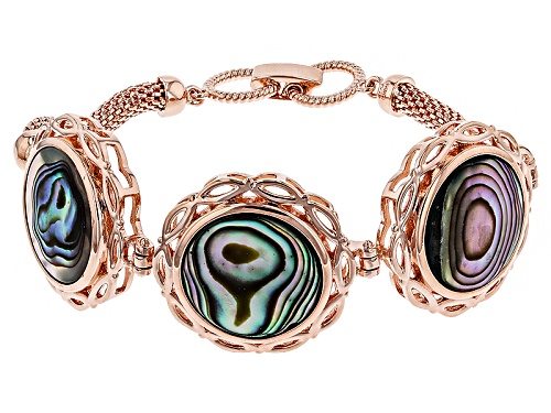 Photo of Timna Jewelry Collection™ 18mm Round Abalone Shell Copper Bracelet - Size 8