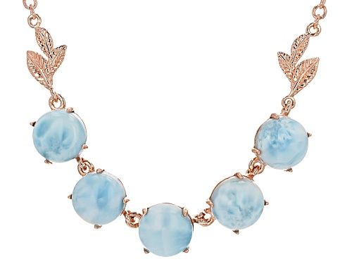 Photo of Timna Jewelry Collection™ 10mm Round Cabochon Larimar Copper Necklace - Size 18