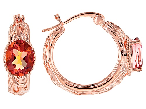 Photo of Timna Jewelry Collection™ 3.06ctw Oval Whatiwant™ Mystic Quartz® Copper Hoop Earrings