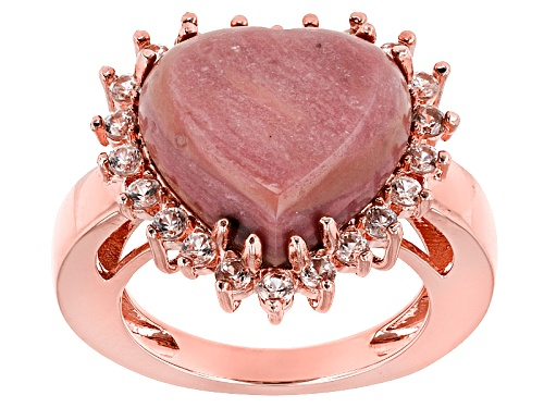 Photo of Timna Jewelry Collection™ 15mm Heart Shape Rhodonite and 1.32ctw White Zircon Copper  Ring - Size 7