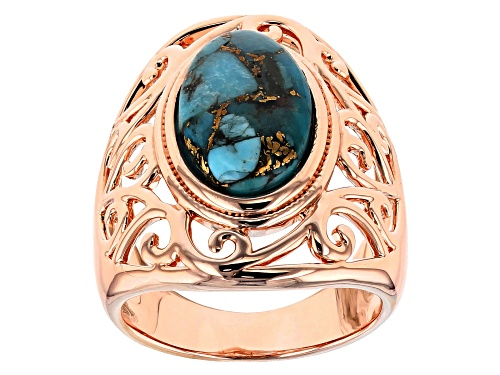 Photo of Timna Jewelry Collection™ 14x9mm Oval Turquoise Cabochon Copper Solitaire Ring - Size 6