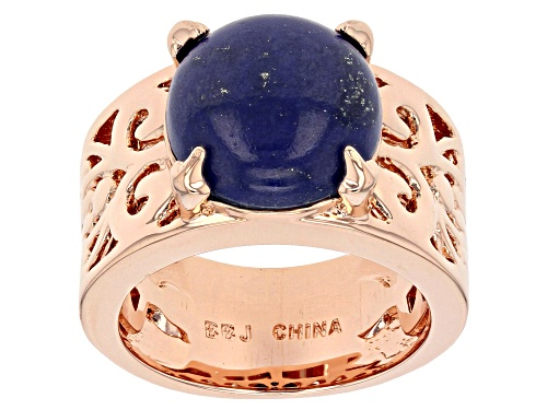 Photo of Timna Jewelry Collection™ 12mm Round Lapis Lazuli Copper Solitaire Ring - Size 5