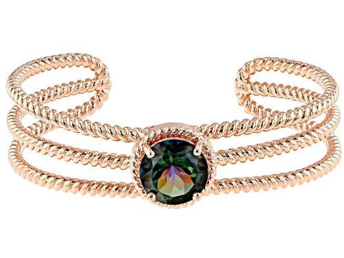 Photo of Timna Jewelry Collection™ 7.01ct Round  Morning Mist™ Quartz Twisted Copper Cord Cuff Bracelet