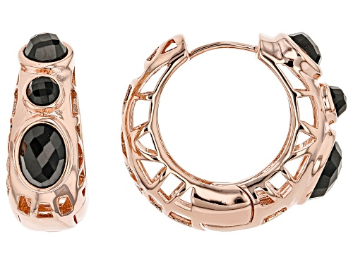 Photo of Timna Jewelry Collection™ 4.11ctw Oval and Round Black Spinel 3-Stone Copper Hoop Earrings