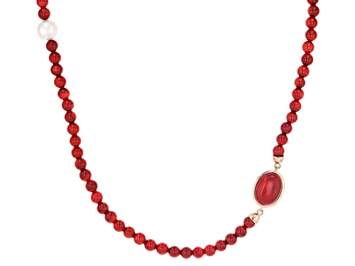 Photo of Timna Jewelry Collection™ Round & Oval Red Coral With Shell Pearl (Pearl Simulant) Copper Necklace - Size 18