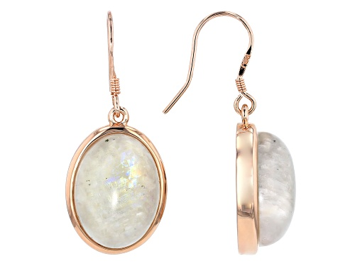 Photo of Timna Jewelry Collection™ 16x12mm Oval Cabochon Rainbow Moonstone Dangle Earrings
