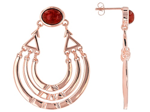 Photo of Timna Jewelry Collection™ 9x7mm Oval Red Indonesian Coral Solitaire Copper Dangle Earrings