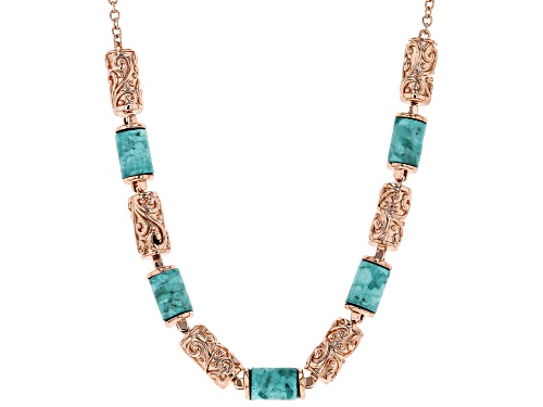 Photo of Timna Jewelry Collection™ 11x8mm Cylinder Turquoise and Filigree Copper Station Necklace - Size 18