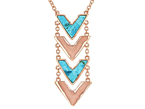 Photo of Timna Jewelry Collection™ 19x14mm Turquoise Slice Copper Chevron 2-Stone Necklace - Size 18