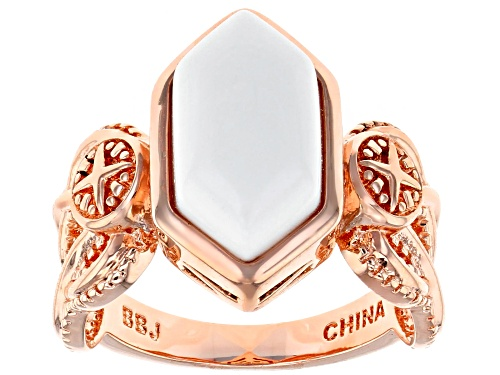 Photo of Timna Jewelry Collection™ 14x7mm Hexagonal Cabochon White Onyx Solitaire Copper Ring - Size 8