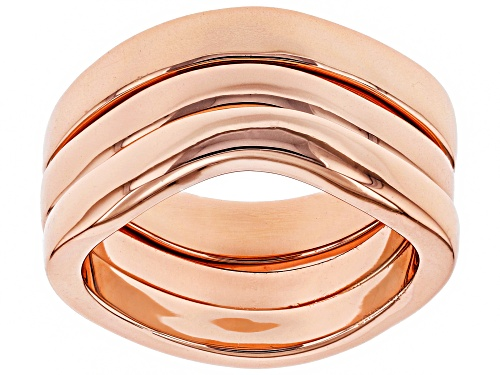 Photo of Timna Jewelry Collection™ Copper Stackable Graduated MM Wavy Band 3-Ring Set - Size 7