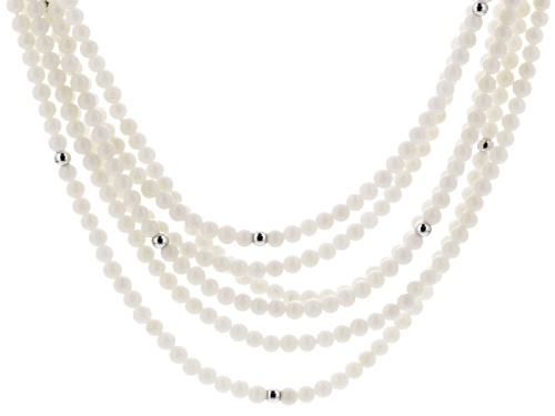Photo of Pacific Style™ 3mm Round White Coral With Silver Ball Bead Silver 32 Inch Multi-Strand Necklace - Size 32