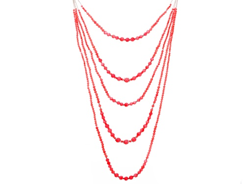 Photo of Pacific Style™ 2-9mm Pink Coral Sterling Silver 18 Inch Adjustable Multi-Strand Necklace - Size 18