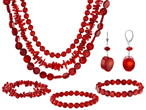 Photo of Pacific Style™ Coral Silver Necklace, Stretch Bracelet, And Earring Set Of 7