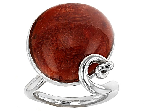 Photo of Pacific Style™ 22x18mm Fancy Cabochon Red Sponge Coral Sterling Silver Solitaire Ring - Size 7
