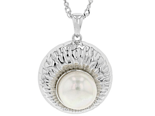 Photo of 10-11mm White Cultured Freshwater Pearl Rhodium Over Sterling Silver Pendant With Chain