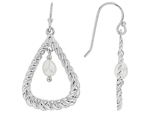 Photo of 4-5mm White Cultured Freshwater Pearl Rhodium Over Sterling Silver Dangle Earrings
