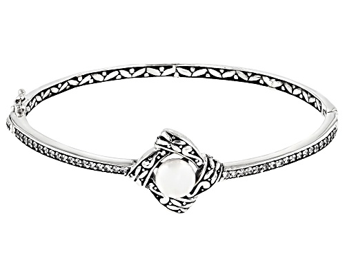 Photo of 8-8.5mm White Cultured Freshwater Pearl & Bella Luce® Sterling Silver Bangle Bracelet