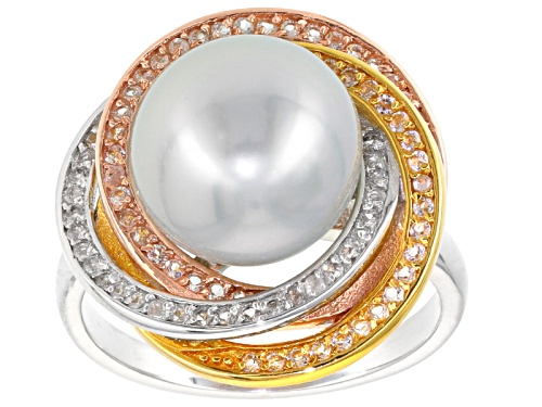 Photo of 10mm White Cultured South Sea Pearl & White Topaz Rhodium & 18k Yellow & Rose Gold Over Silver Ring - Size 8