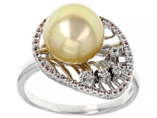 Photo of 10-11mm Golden Cultured South Sea Pearl With White Topaz Rhodium Over Sterling Silver Ring - Size 8
