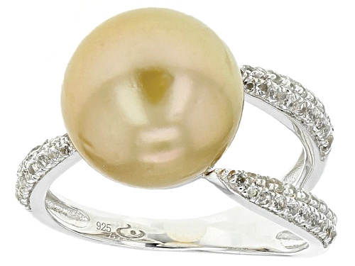 Photo of 11-12mm Golden Cultured South Sea Pearl With White Topaz Rhodium Over Sterling Silver Ring - Size 11