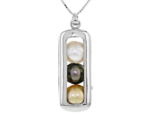 Photo of 9-10mm Cultured Tahitian & Golden & White South Sea Pearl Rhodium Over Silver Pendant With Chain