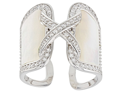 Photo of White Mother-Of-Pearl & Bella Luce® Diamond Simulant Rhodium Over Sterling Silver Ring - Size 5