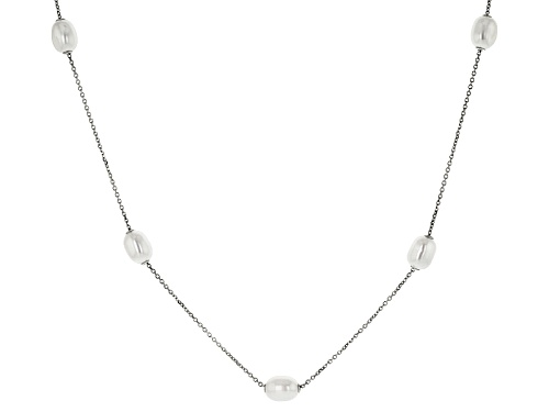Photo of 8-8.5mm White Cultured Freshwater Pearl Rhodium Over Sterling Silver 24 Inch Sliding Pearl Necklace - Size 24